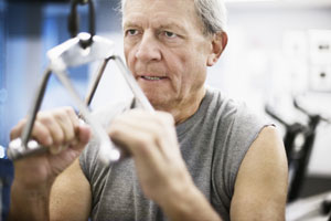 Elderly man at the gym